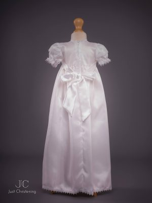 Girls White Cross Christening Gown Back