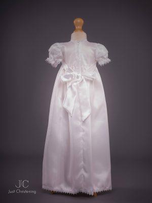 Girls White Cross Christening Gown Back