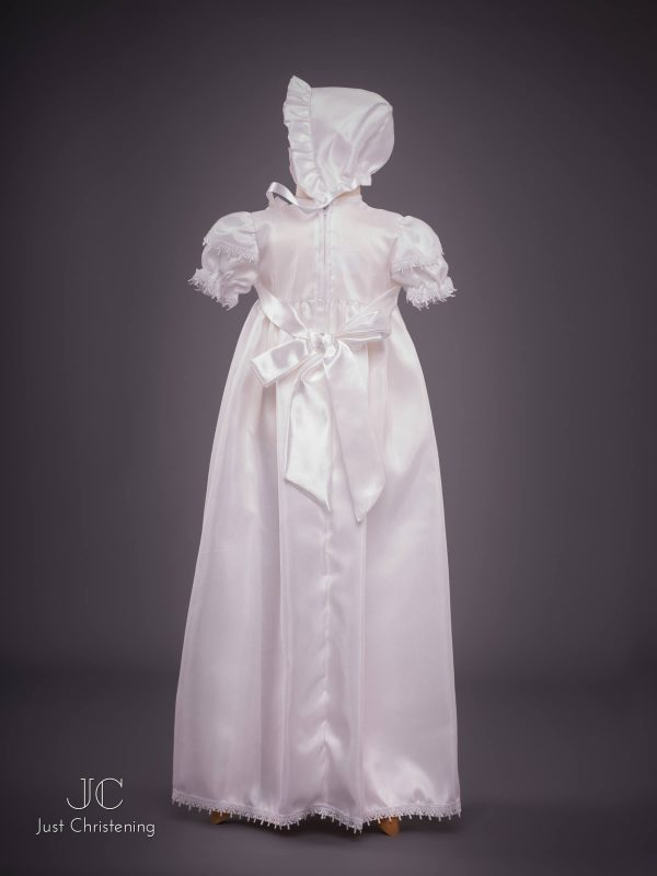 Girls White Cross Christening Gown Bonnet