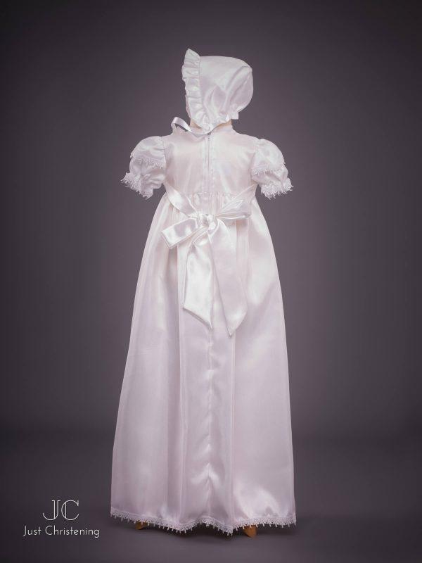 Girls White Cross Christening Gown Bonnet