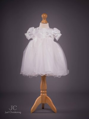Grace White Bow Christening dress