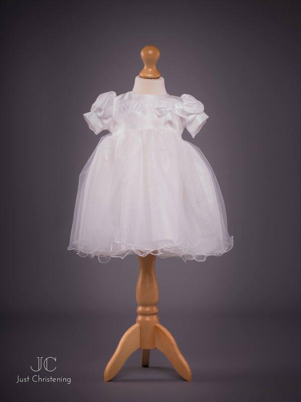Grace White Bow Christening dress