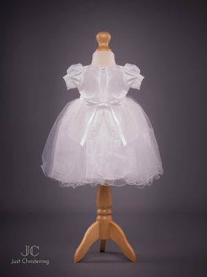 Grace White Bow Christening dress back