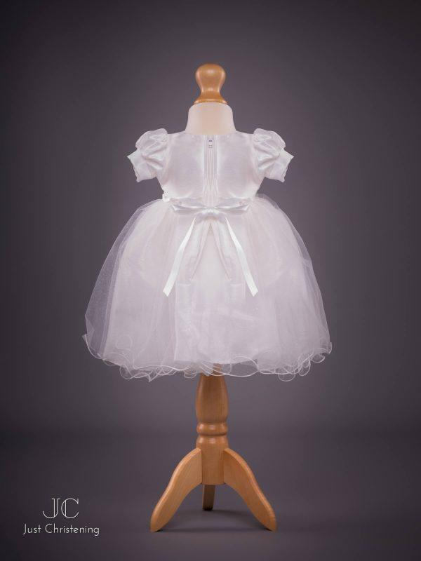 Grace White Bow Christening dress back