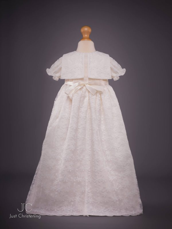 Juliette Ivory lace christening dress back