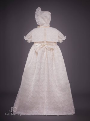 Juliette Ivory lace christening dress back bonnet