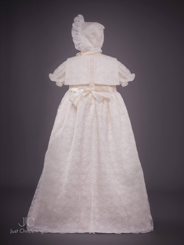 Juliette Ivory lace christening dress back bonnet