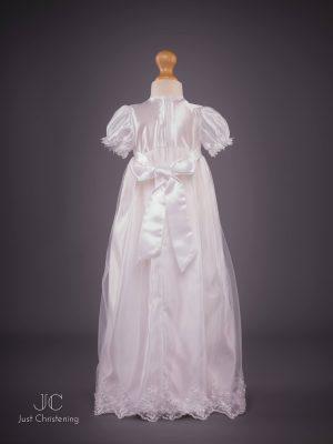 Lauren sequin girls christening dress white Back