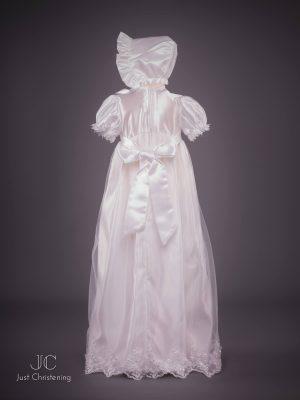 Lauren sequin girls christening dress white Bonnet
