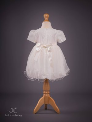 Olivia ivory christening dress back