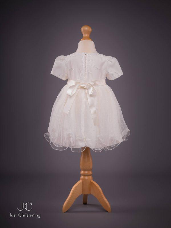 Olivia ivory christening dress back
