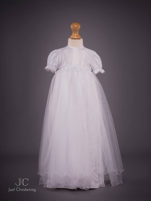 White long mesh Christening dress