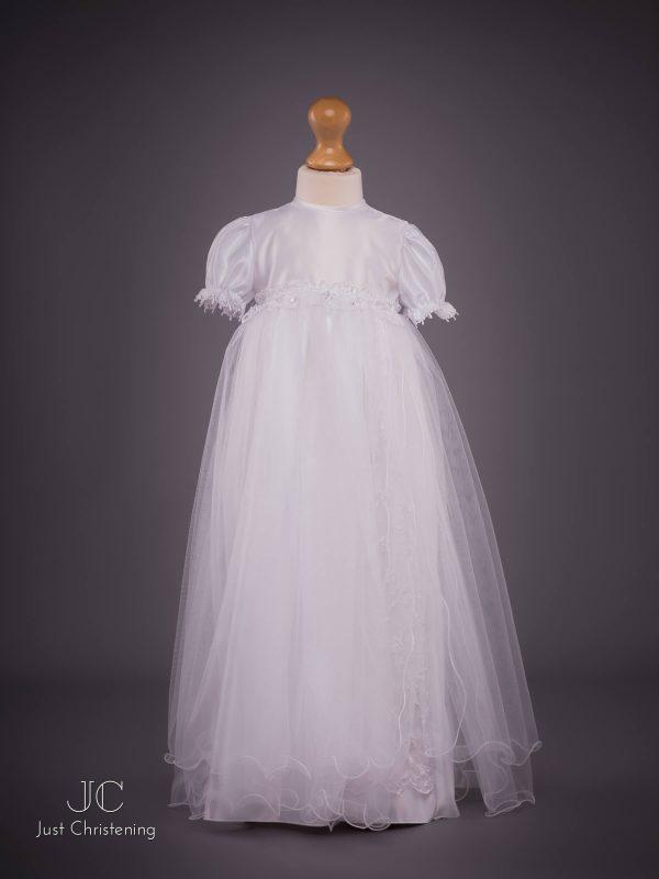 White long mesh Christening dress