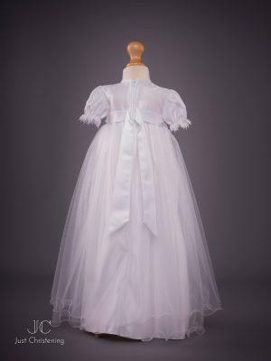 White long mesh Christening dress back