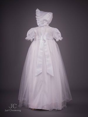 White long mesh Christening dress back bonnet