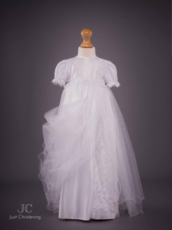 White long mesh Christening dress skirt detail