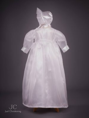 flower sheer christening dress bonnet