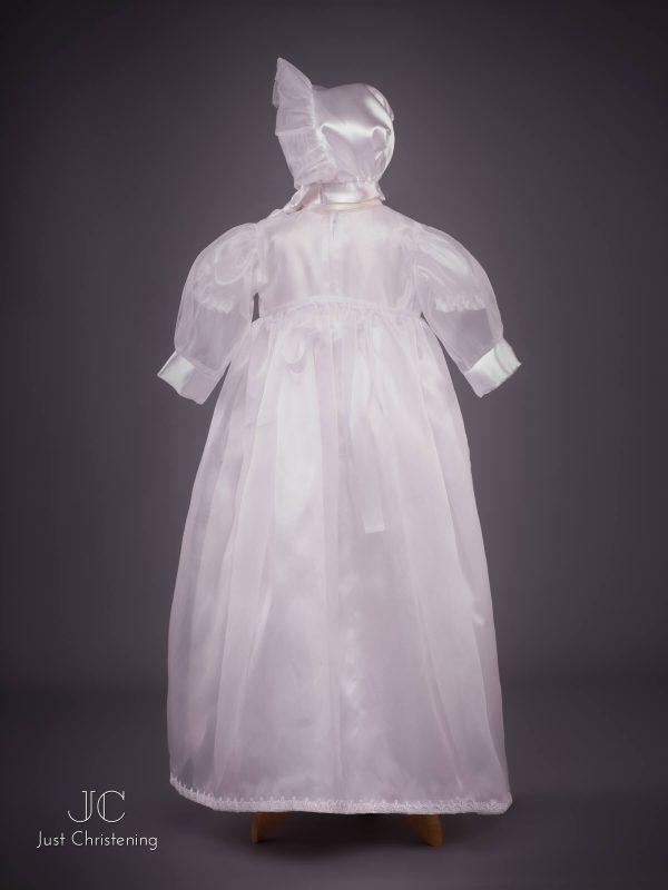 flower sheer christening dress bonnet