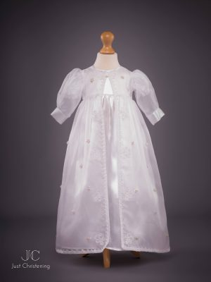 flower sheer christening dress front
