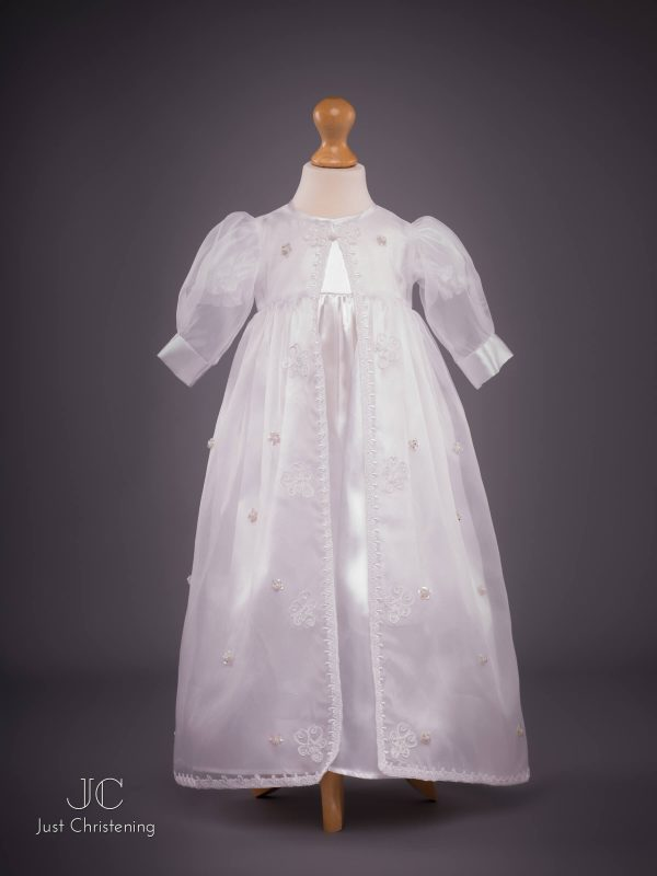 flower sheer christening dress front