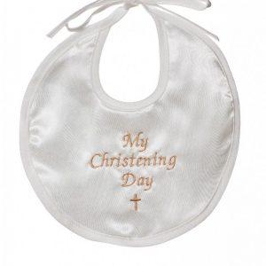 Ivory and gold christening bib