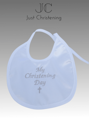 white christening bib