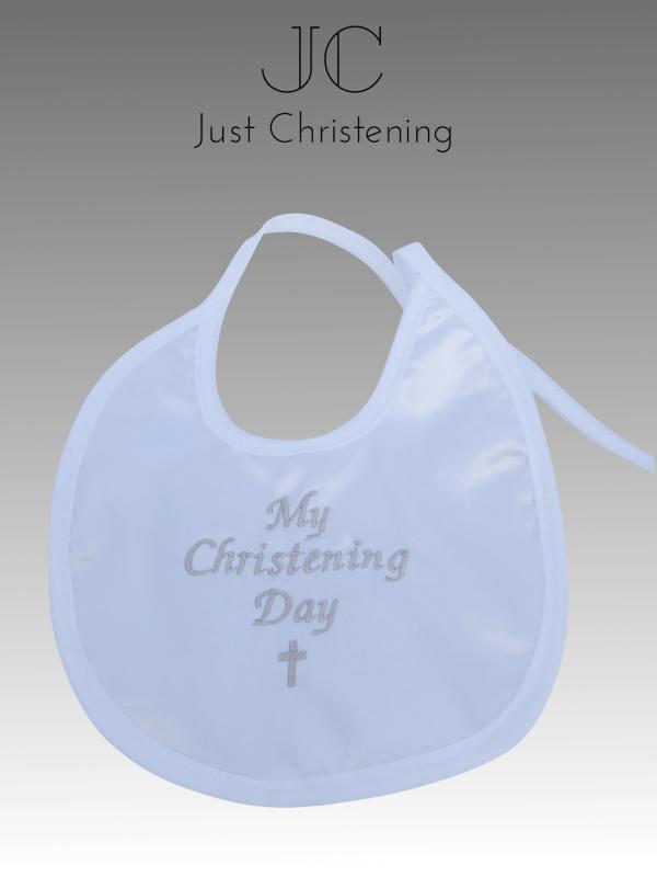 white christening bib