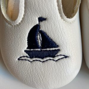 Boys sailor christening shoes close