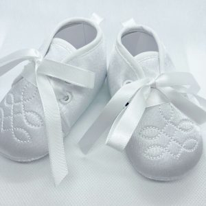 Boys white soft sole christening boots