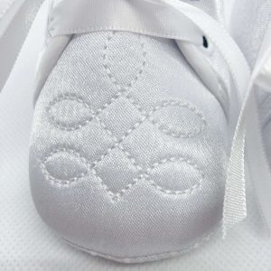 Boys white soft sole christening boots detail