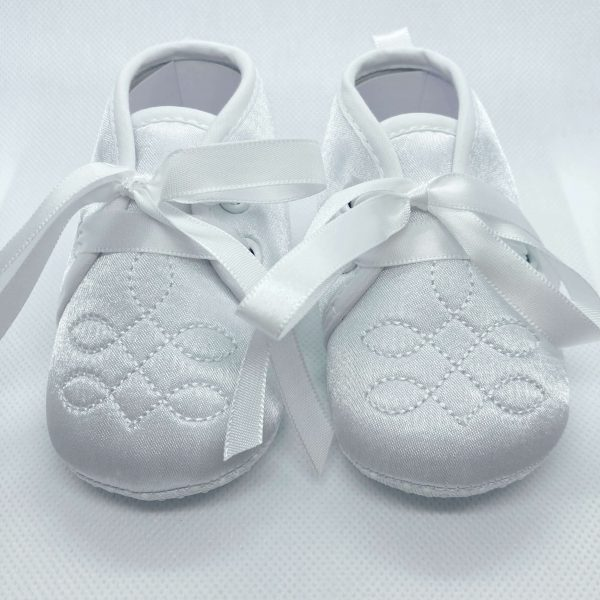 Boys white soft sole christening boots front