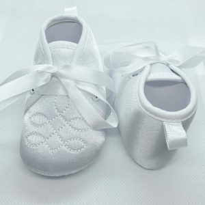Boys white soft sole christening boots front back