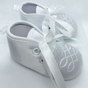 Boys white soft sole christening boots side
