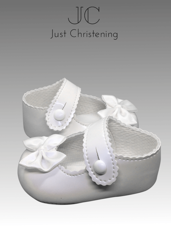 girls white patent bow christening shoes