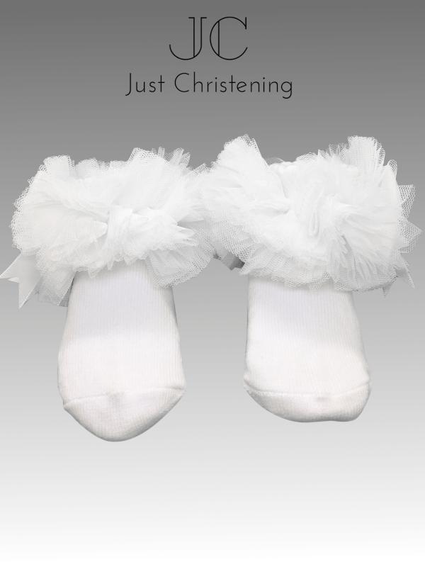 ruffle ankle socks white