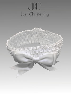 christening Bow headband white