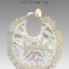 christening bib frilly gold ivory