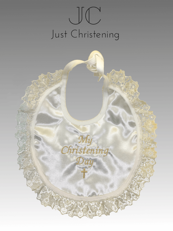 christening bib frilly gold ivory