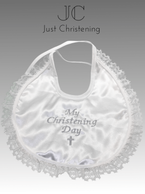 christening bib frilly white 2