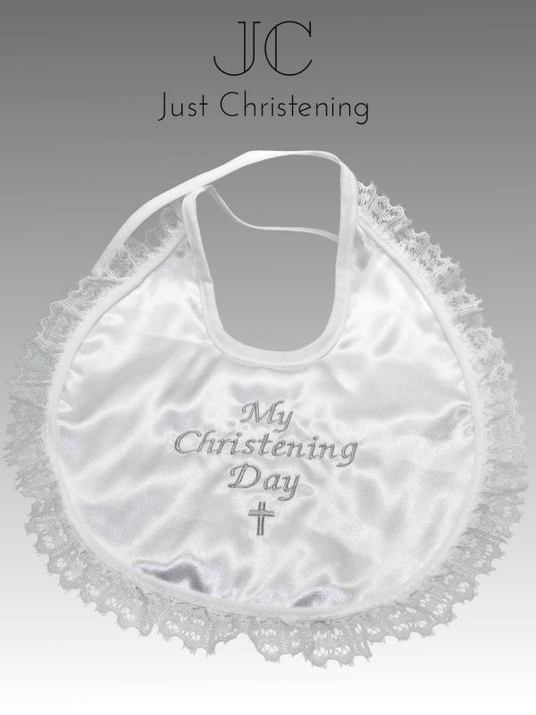 christening bib frilly white 2