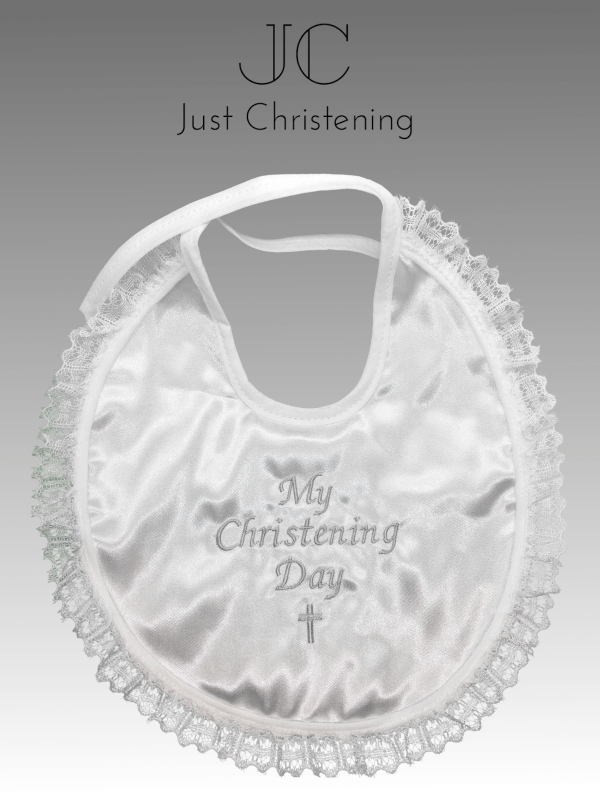 christening bib frilly white