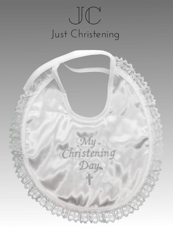 christening bib frilly white