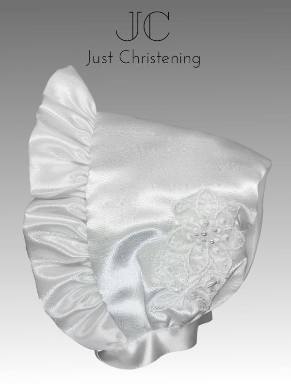 christening bonnet in white