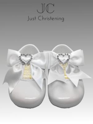 christening white shoes diamante heart 3