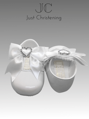 christening white shoes diamante heart