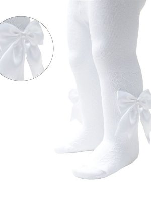white tights with bow and heart christening